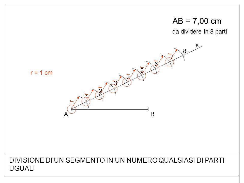 DIVISIONE DI UN SEGMENTO IN UN NUMERO QUALSIASI DI PARTI UGUALI AB = 7,00 cm BA s r 1 r 2 r 3 r 4 r 5 r 6 r 7 r 8 da dividere in 8 parti r = 1 cm