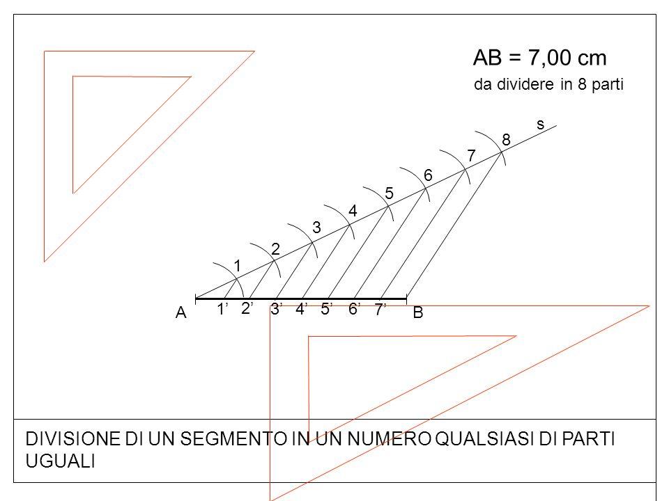 DIVISIONE DI UN SEGMENTO IN UN NUMERO QUALSIASI DI PARTI UGUALI AB = 7,00 cm BA s 1 2 3 4 5 6 7 8 7 6 54 3 2 1 da dividere in 8 parti