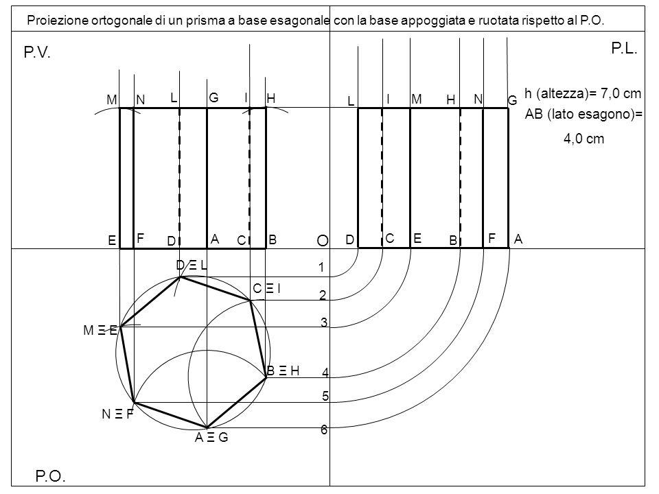 P.O. P.V. P.L. Proiezione ortogonale di un prisma a base esagonale con la base appoggiata e ruotata rispetto al P.O. A 1 5 O D A Ξ G B Ξ H D Ξ L M Ξ E