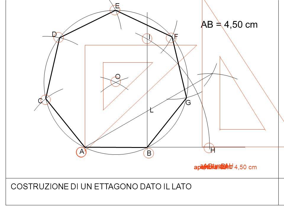COSTRUZIONE DI UN ETTAGONO DATO IL LATO AB = 4,50 cm B A AB = BH H I L O C D E F G apertura AH apertura AL apertura OA apertura AB = 4,50 cm