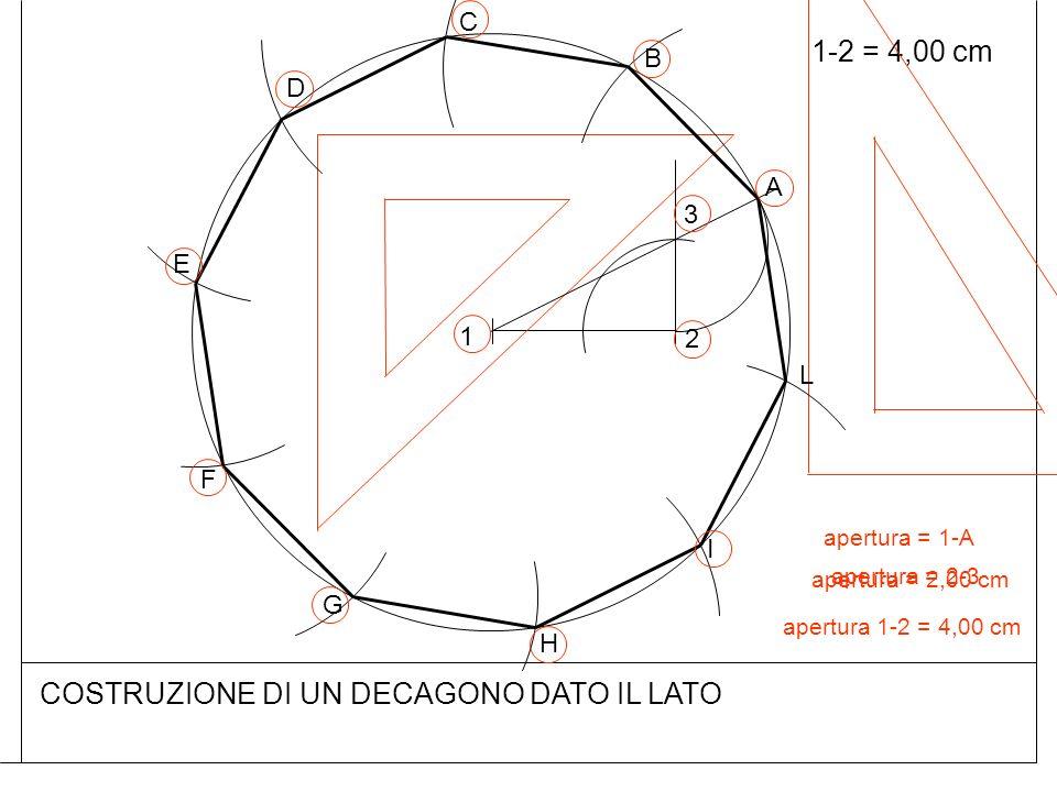 1-2 = 4,00 cm COSTRUZIONE DI UN DECAGONO DATO IL LATO 1 2 apertura = 2,00 cm 3 apertura = 2-3 A apertura 1-2 = 4,00 cm B C D E F G H I L apertura = 1-A