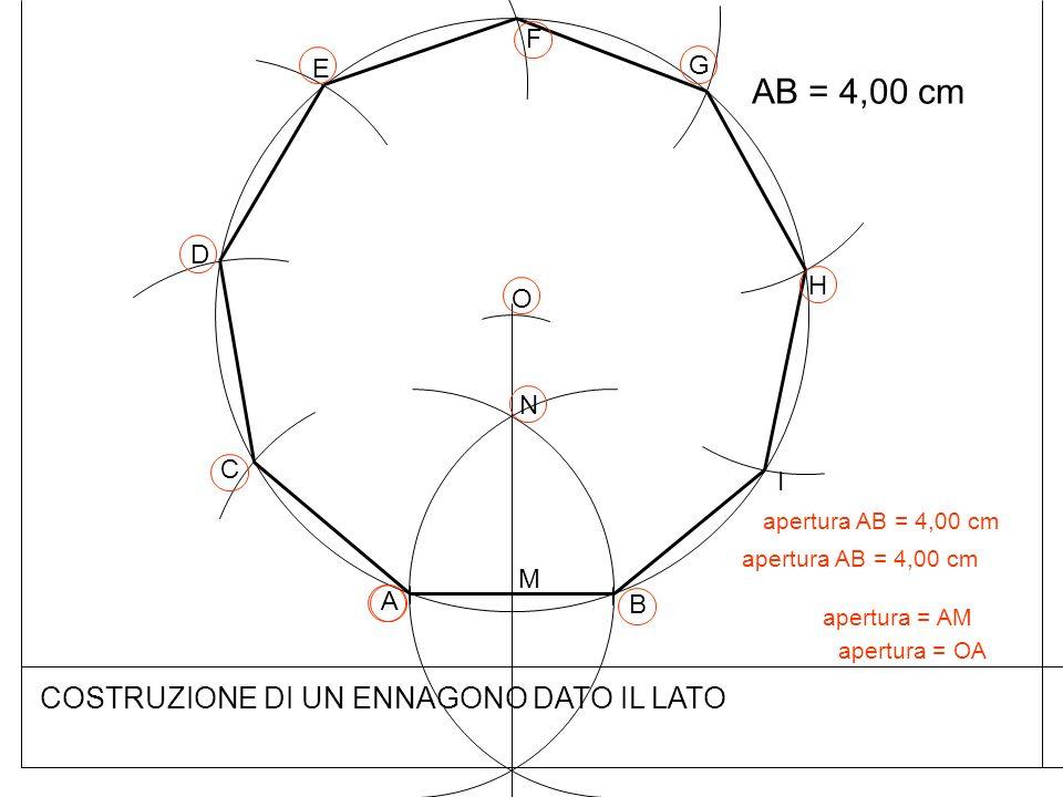 COSTRUZIONE DI UN ENNAGONO DATO IL LATO AB = 4,00 cm B A N M apertura = AM O apertura = OA apertura AB = 4,00 cm C D E F G H I