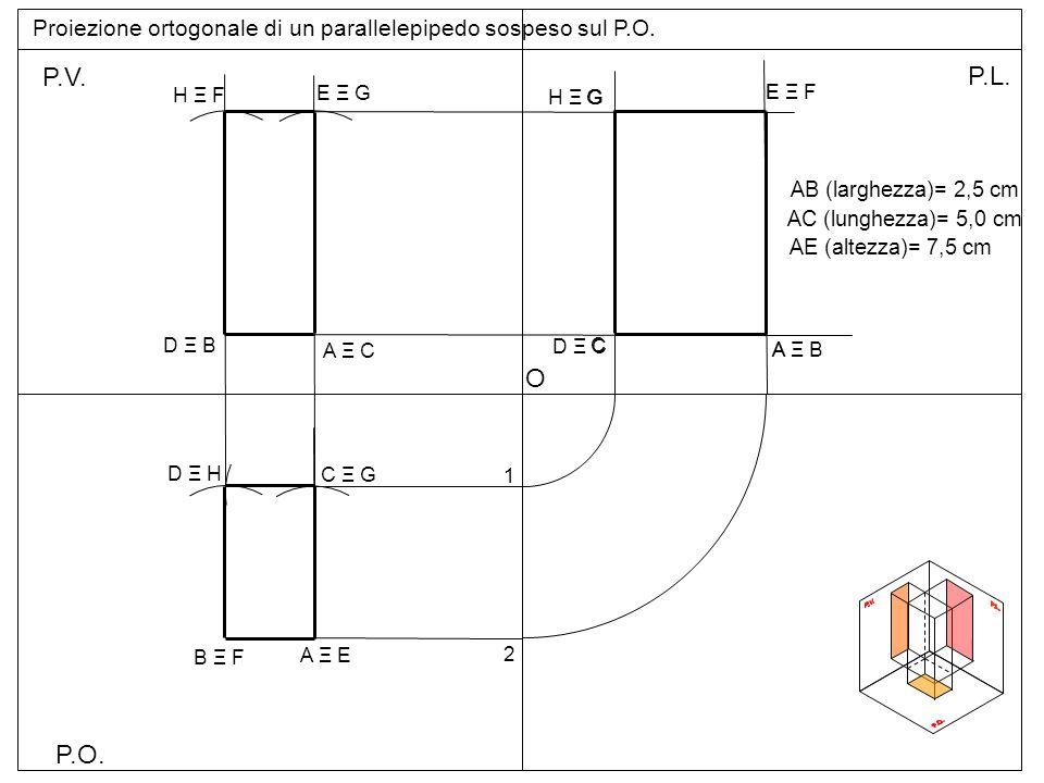 P.O.P.V. P.L. Proiezione ortogonale di un parallelepipedo sospeso sul P.O.