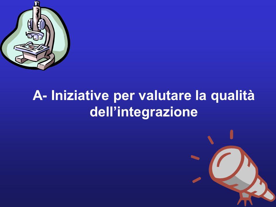 16 A- Iniziative per valutare la qualità dellintegrazione