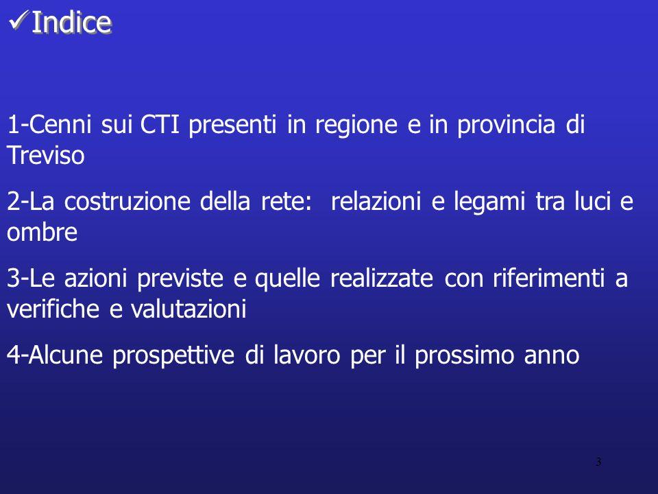 4 La Direzione Regionale ha riconosciuto 41 CTI Belluno 2 Treviso 9 Venezia 6 Rovigo 3 Padova 7 Verona 9 Vicenza 5