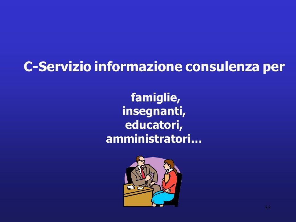 33 C-Servizio informazione consulenza per famiglie, insegnanti, educatori, amministratori…