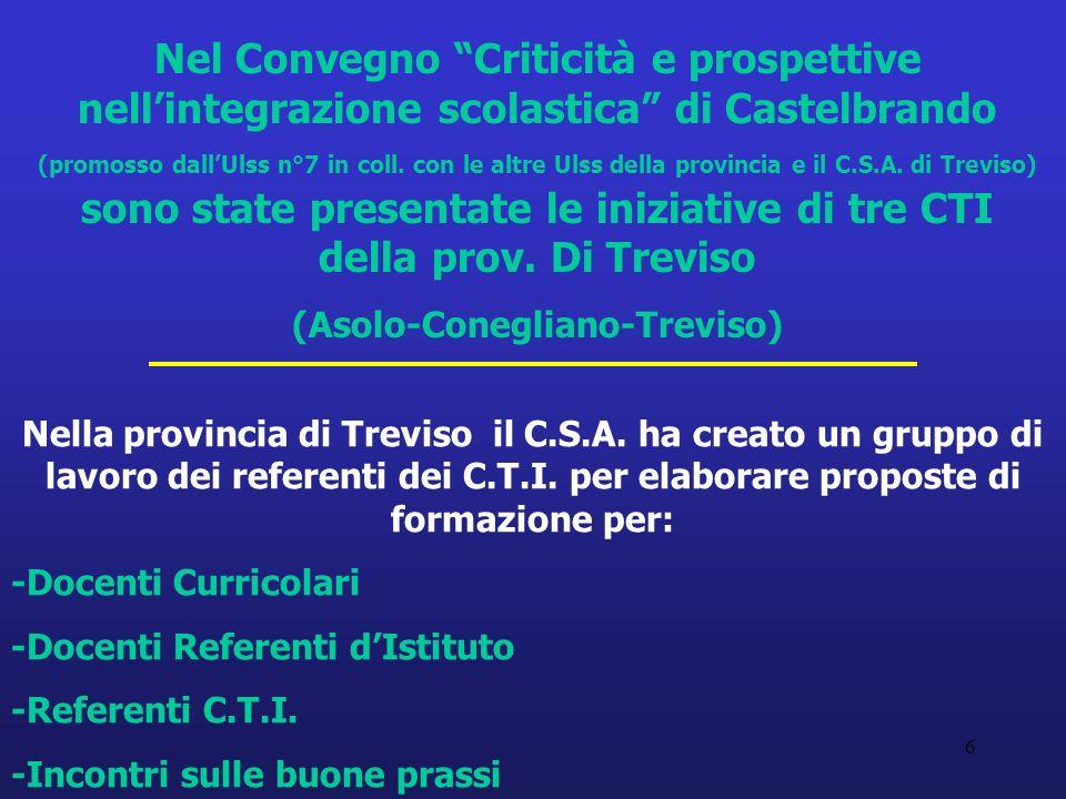 6 Nella provincia di Treviso il C.S.A. ha creato un gruppo di lavoro dei referenti dei C.T.I.