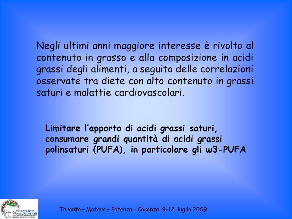 Negli ultimi anni maggiore interesse è rivolto al contenuto in grasso e alla composizione in acidi grassi degli alimenti, a seguito delle correlazioni