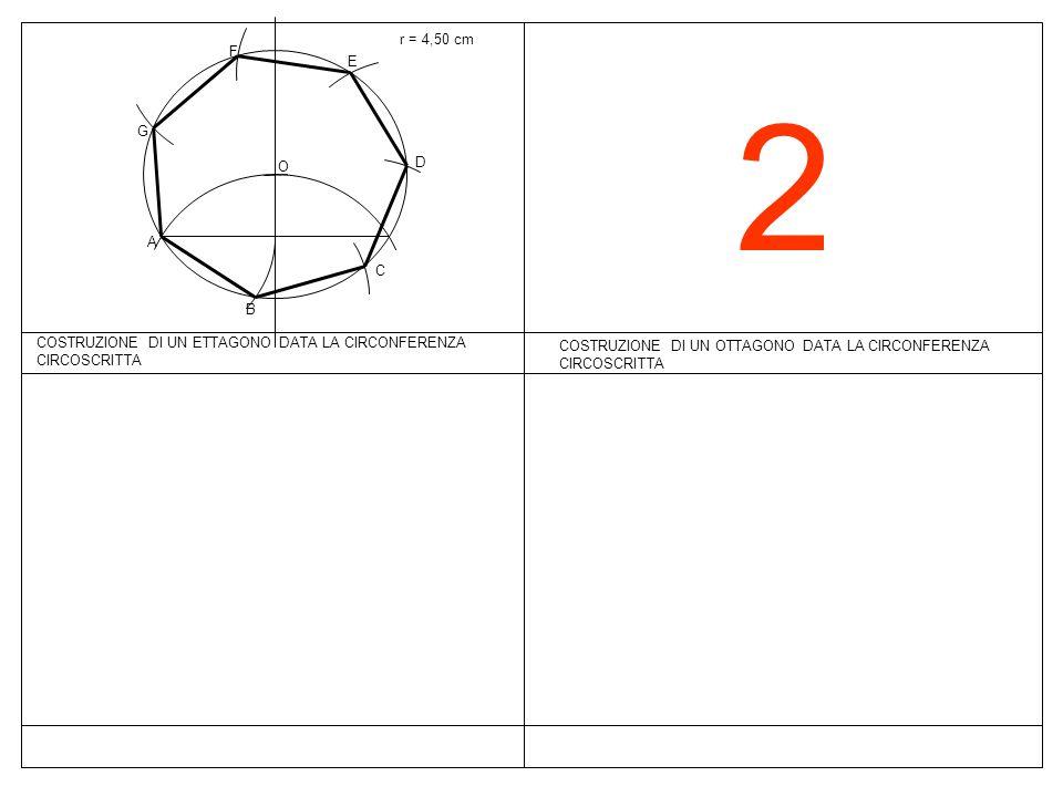 2 COSTRUZIONE DI UN OTTAGONO DATA LA CIRCONFERENZA CIRCOSCRITTA r = 4,50 cm COSTRUZIONE DI UN ETTAGONO DATA LA CIRCONFERENZA CIRCOSCRITTA O A B C D E