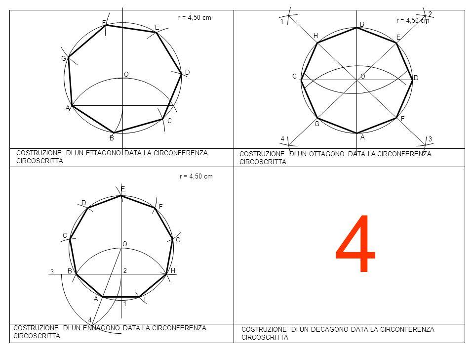 4 COSTRUZIONE DI UN DECAGONO DATA LA CIRCONFERENZA CIRCOSCRITTA O A B C D E F G r = 4,50 cm COSTRUZIONE DI UN ETTAGONO DATA LA CIRCONFERENZA CIRCOSCRI