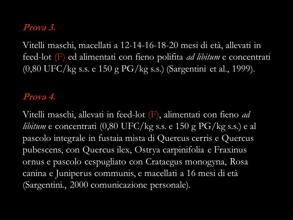Prova 3. Vitelli maschi, macellati a 12-14-16-18-20 mesi di età, allevati in feed-lot (F) ed alimentati con fieno polifita ad libitum e concentrati (0
