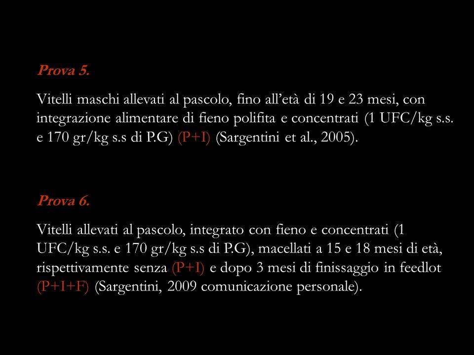 Prova 5. Vitelli maschi allevati al pascolo, fino alletà di 19 e 23 mesi, con integrazione alimentare di fieno polifita e concentrati (1 UFC/kg s.s. e