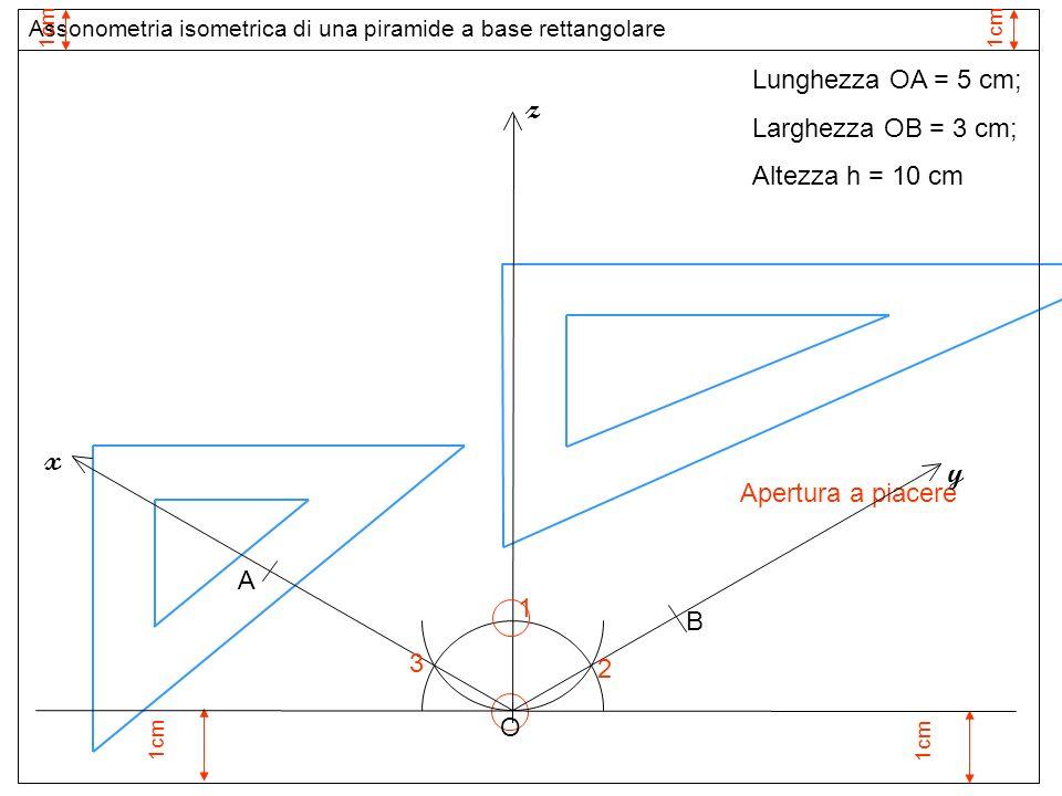 1cm 1 Apertura a piacere O z 2 3 y x Assonometria isometrica di una piramide a base rettangolare 1cm Lunghezza OA = 5 cm; Larghezza OB = 3 cm; Altezza