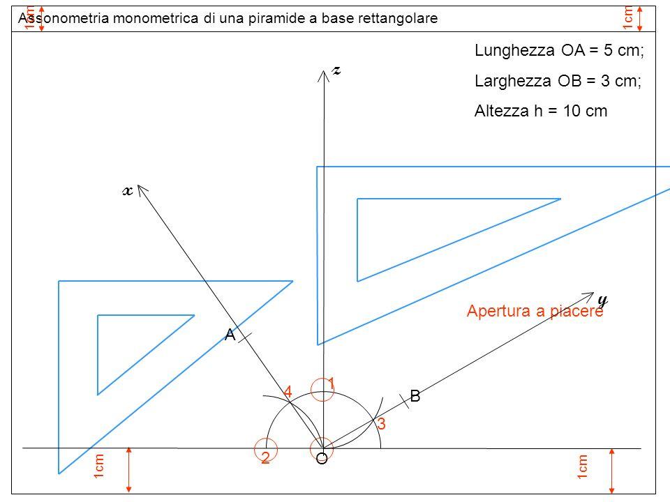 1cm 1 Apertura a piacere O z 3 2 y x 4 Assonometria monometrica di una piramide a base rettangolare 1cm Lunghezza OA = 5 cm; Larghezza OB = 3 cm; Alte