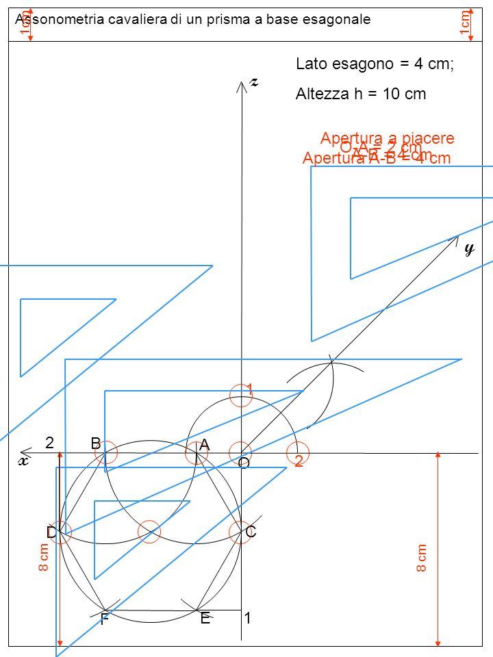Assonometria cavaliera di un prisma a base esagonale 1cm Assi assonometria cavaliera 1 Apertura a piacere z 2 y x Lato esagono = 4 cm; Altezza h = 10