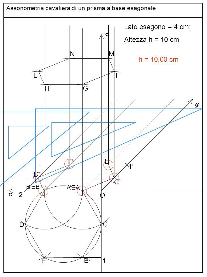 Assonometria cavaliera di un prisma a base esagonale Altezze e base superiore z y x Lato esagono = 4 cm; Altezza h = 10 cm O C D E F 1 C 1 2 D F E BΞB