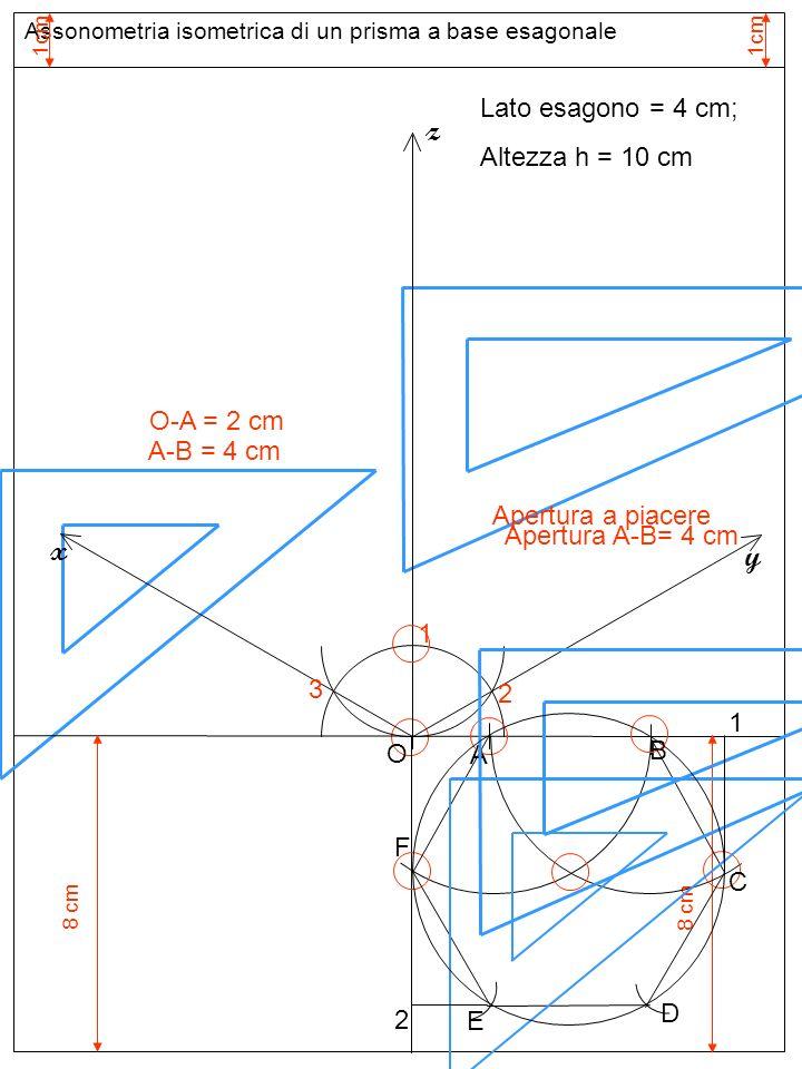 Assonometria isometrica di un prisma a base esagonale 1cm Assi assonometria isometrica 1 Apertura a piacere O z 2 3 y x Lato esagono = 4 cm; Altezza h