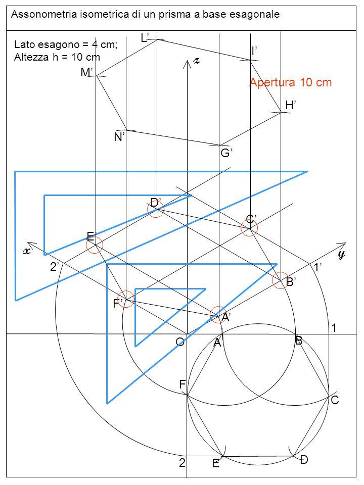 Assonometria isometrica di un prisma a base esagonale O z y x Lato esagono = 4 cm; Altezza h = 10 cm A B C D E F 1 2 A B Apertura 10 cm 1 F 2 E D C G