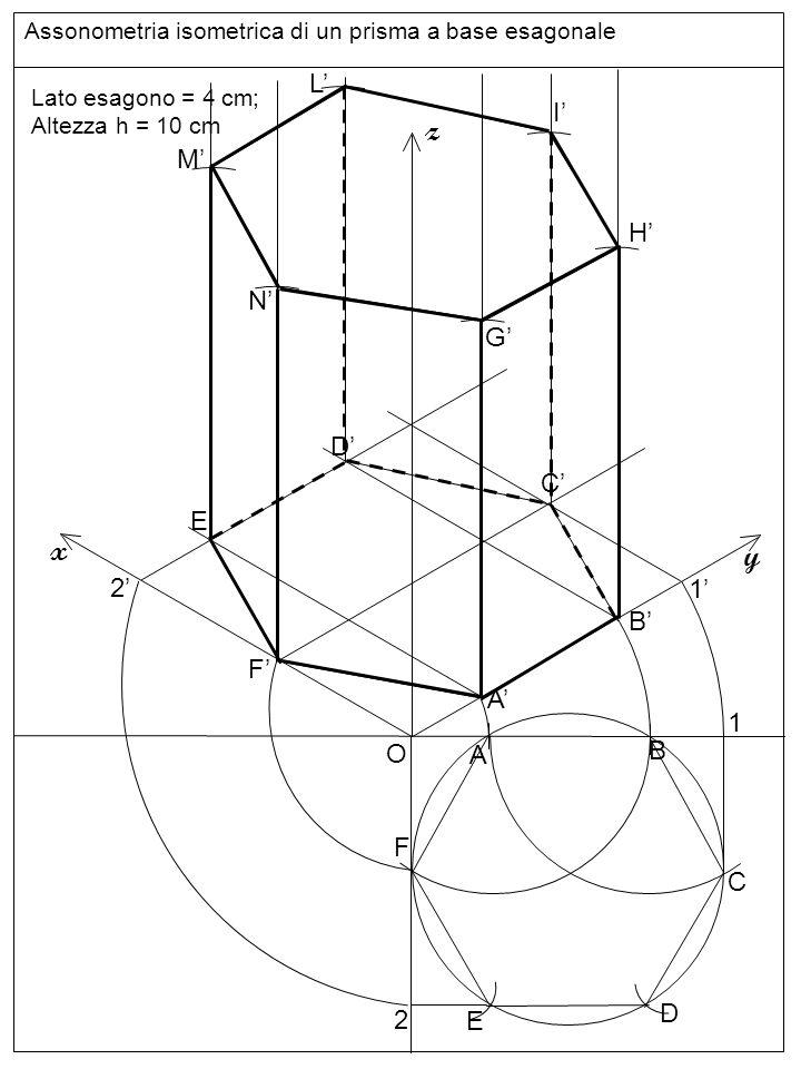 Assonometria isometrica di un prisma a base esagonale O z y x Lato esagono = 4 cm; Altezza h = 10 cm A B C D E F 1 2 A B 1 F 2 E D C G H I L M N linee