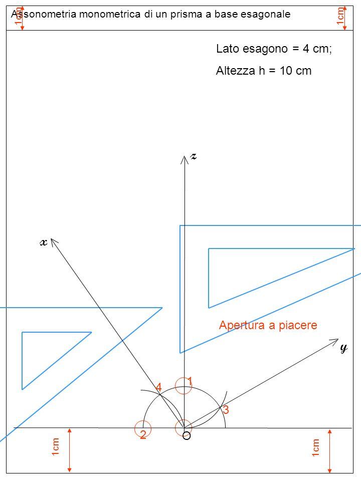 1cm Assonometria monometrica di un prisma a base esagonale Assi assonometria monometrica Lato esagono = 4 cm; Altezza h = 10 cm 1 Apertura a piacere z