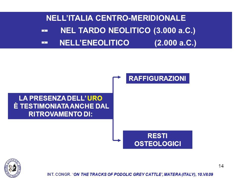 14 NELLITALIA CENTRO-MERIDIONALE NEL TARDO NEOLITICO (3.000 a.C.) NELLENEOLITICO (2.000 a.C.) LA PRESENZA DELL URO È TESTIMONIATA ANCHE DAL RITROVAMEN