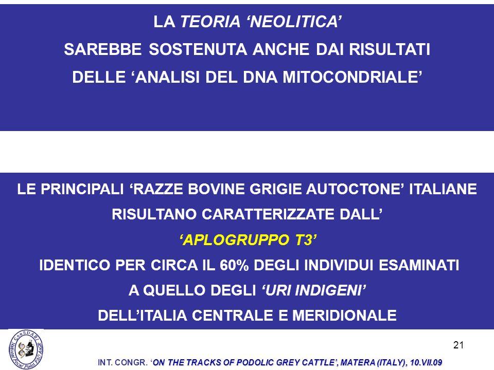 21 LE PRINCIPALI RAZZE BOVINE GRIGIE AUTOCTONE ITALIANE RISULTANO CARATTERIZZATE DALL APLOGRUPPO T3 IDENTICO PER CIRCA IL 60% DEGLI INDIVIDUI ESAMINAT