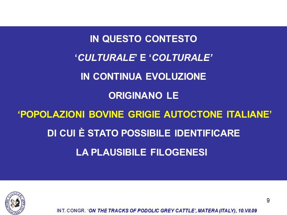 9 IN QUESTO CONTESTO CULTURALE E COLTURALE IN CONTINUA EVOLUZIONE ORIGINANO LE POPOLAZIONI BOVINE GRIGIE AUTOCTONE ITALIANE DI CUI È STATO POSSIBILE I