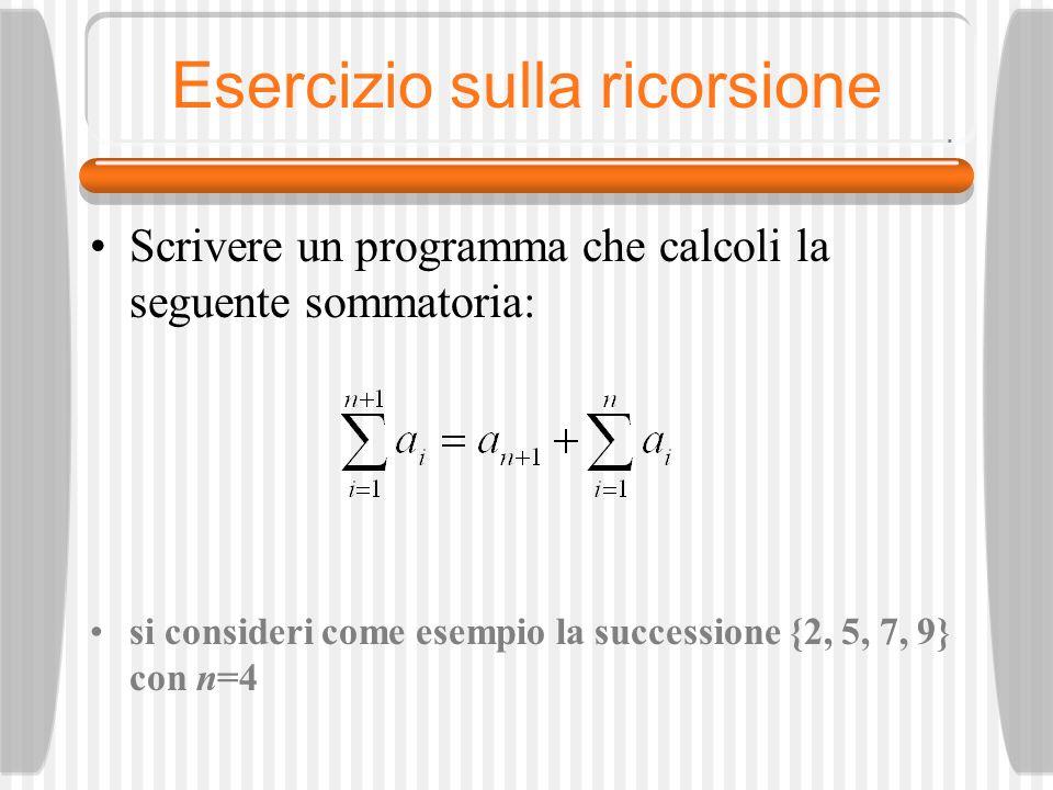 Esempio di ricorsione: stringa palindroma /* Programma RicPalindr*/ … else { /* Viene chiamata la funzione Palindrome passando per indirizzo il primo e l ultimo carattere della stringa da analizzare */ OK = Palindrome (&Stringa1[0], &Stringa1[LunghStringa–1]; if (OK == true) printf ( La stringa è palindroma); else printf ( La stringa non è palindroma ); }