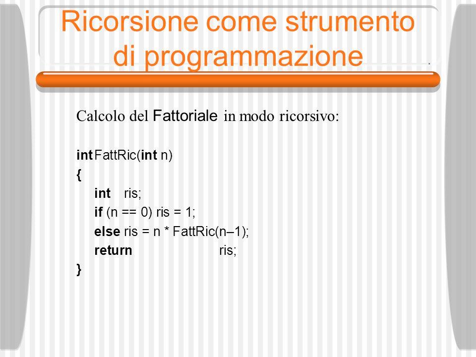 Esempio di ricorsione: stringa palindroma /* Programma RicPalindr*/ booleanPalindrome (char, *PC, char *UC) { /* la stringa è vuota o è costituita da un solo carattere */ if (PC >= UC) return true; else /* Se il primo e l ultimo carattere sono diversi */ if (*PC != *UC) return false; /* Chiama se stessa ricorsivamente escludendo il primo e l ultimo carattere */ else return Palindrome (PC+1, UC–1); }