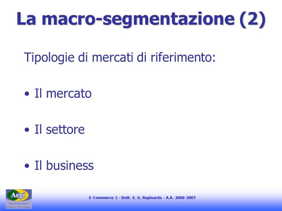 E-Commerce 1 - Dott. E. G. Rapisarda - A.A. 2006-2007 La macro-segmentazione (2) Tipologie di mercati di riferimento: Il mercato Il settore Il busines