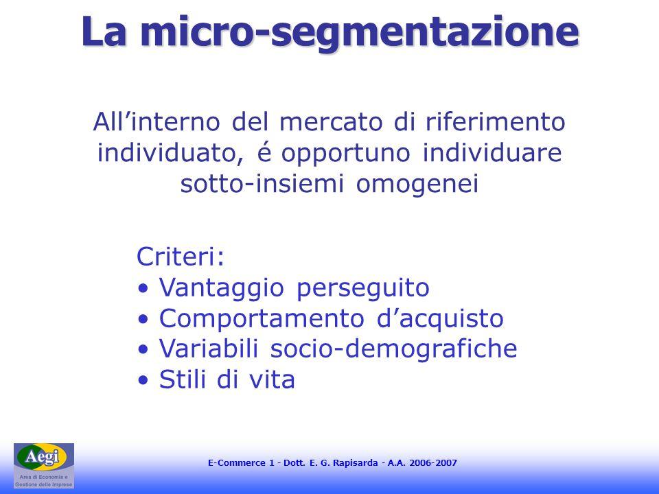 E-Commerce 1 - Dott. E. G. Rapisarda - A.A. 2006-2007 La micro-segmentazione Allinterno del mercato di riferimento individuato, é opportuno individuar