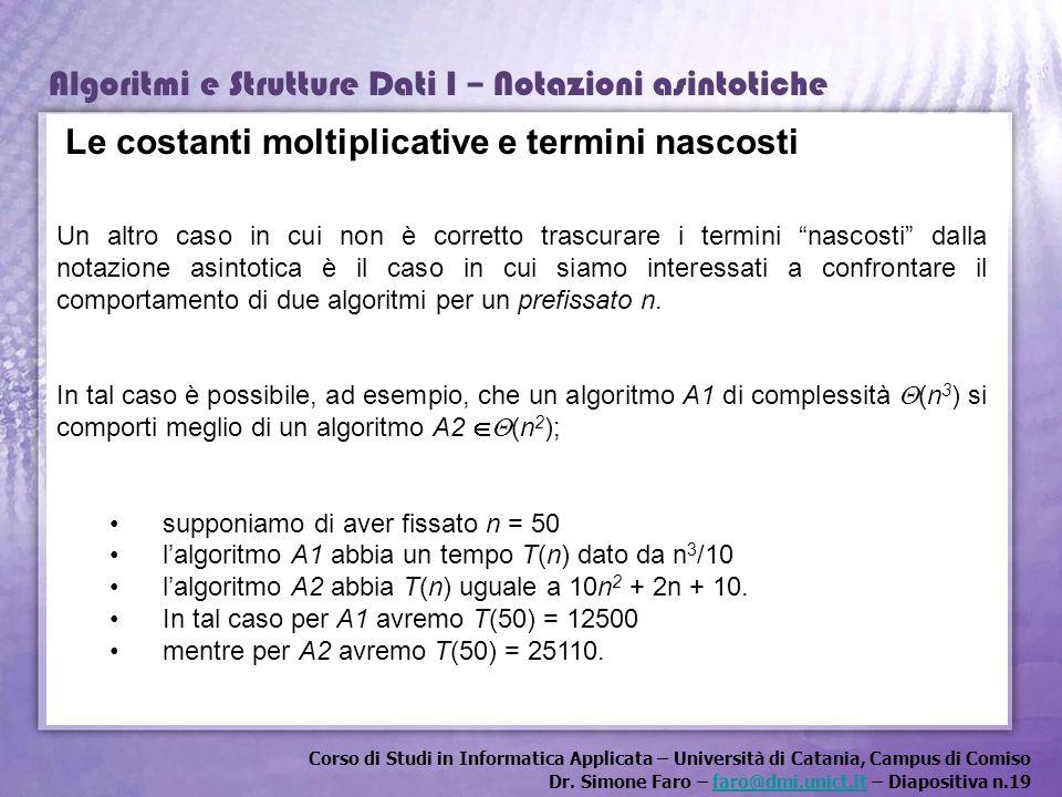 Corso di Studi in Informatica Applicata – Università di Catania, Campus di Comiso Dr. Simone Faro – faro@dmi.unict.it – Diapositiva n.19faro@dmi.unict