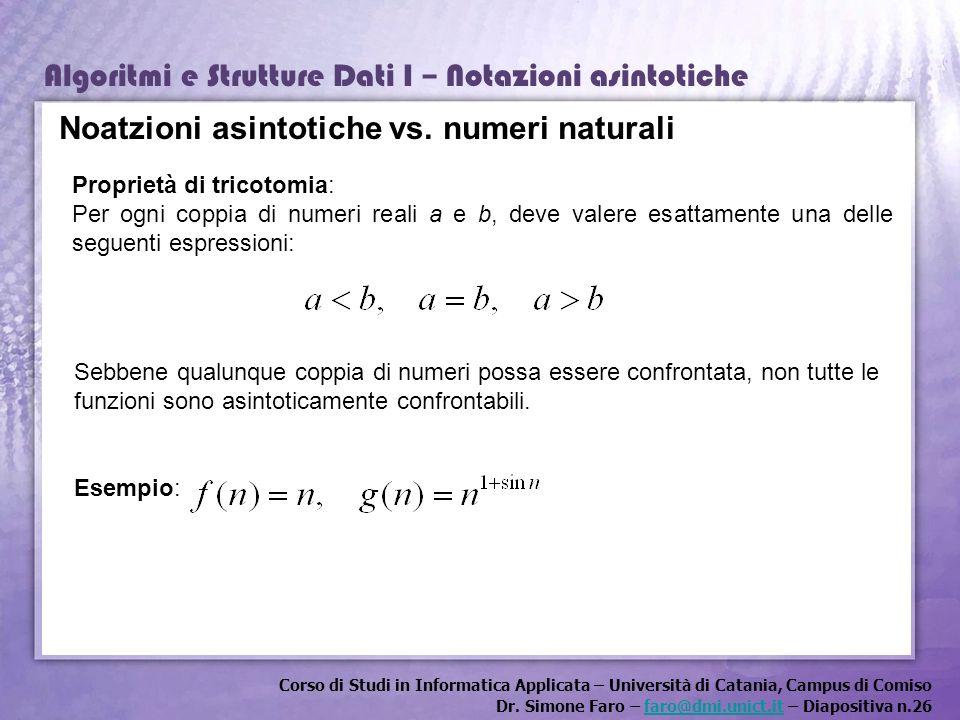 Corso di Studi in Informatica Applicata – Università di Catania, Campus di Comiso Dr. Simone Faro – faro@dmi.unict.it – Diapositiva n.26faro@dmi.unict