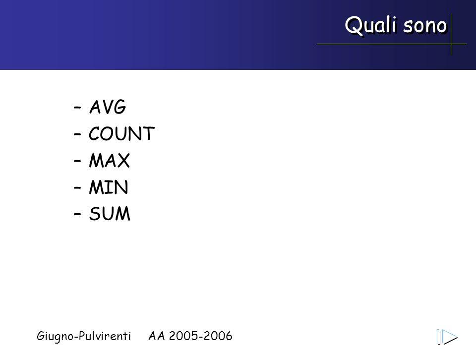 Giugno-Pulvirenti AA 2005-2006 Quali sono –AVG –COUNT –MAX –MIN –SUM