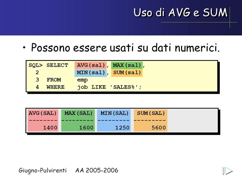 Giugno-Pulvirenti AA 2005-2006 Uso di AVG e SUM AVG(SAL) MAX(SAL) MIN(SAL) SUM(SAL) -------- --------- --------- --------- 1400 1600 1250 5600 Possono