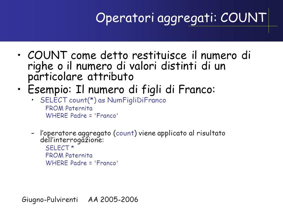 Giugno-Pulvirenti AA 2005-2006 Operatori aggregati: COUNT COUNT come detto restituisce il numero di righe o il numero di valori distinti di un partico