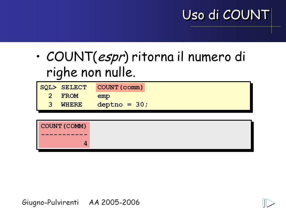 Giugno-Pulvirenti AA 2005-2006 Uso di COUNT COUNT(espr) ritorna il numero di righe non nulle. SQL> SELECTCOUNT(comm) 2 FROMemp 3 WHEREdeptno = 30; COU