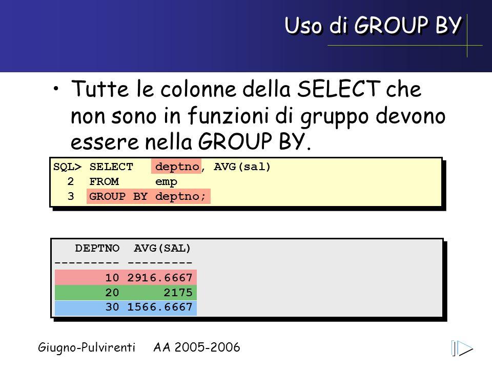 Giugno-Pulvirenti AA 2005-2006 Uso di GROUP BY Tutte le colonne della SELECT che non sono in funzioni di gruppo devono essere nella GROUP BY. SQL> SEL