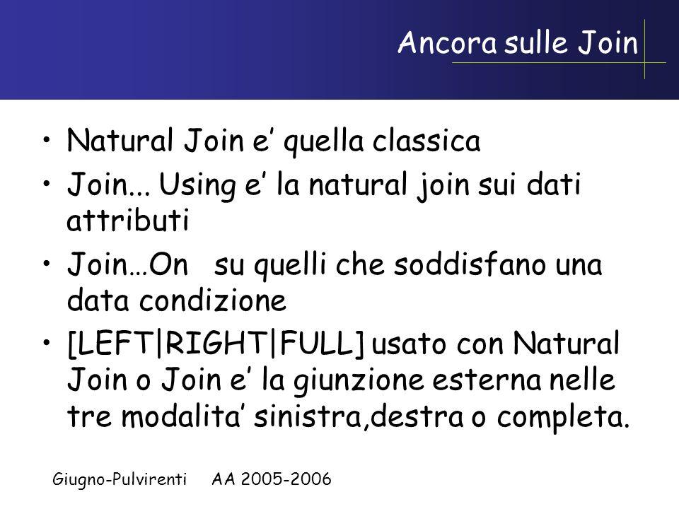 Giugno-Pulvirenti AA 2005-2006 Clausola HAVING Uso di HAVING per restringere gruppi –Le righe sono raggruppate.