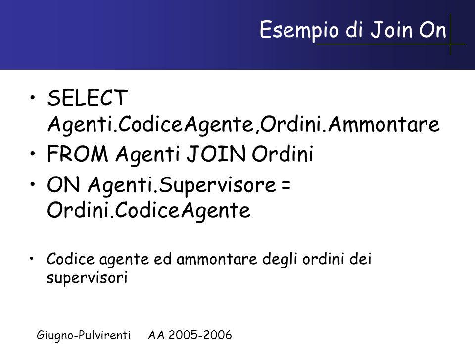 Giugno-Pulvirenti AA 2005-2006 Giunzione Esterna SELECT Agenti.CodiceAgente,Ordini.Ammontare FROM Agenti NATURAL LEFT JOIN Ordini Codice agente ed ammontare degli agenti incluso quelli che non hanno effettuato ordini (avranno ammontare NULL)