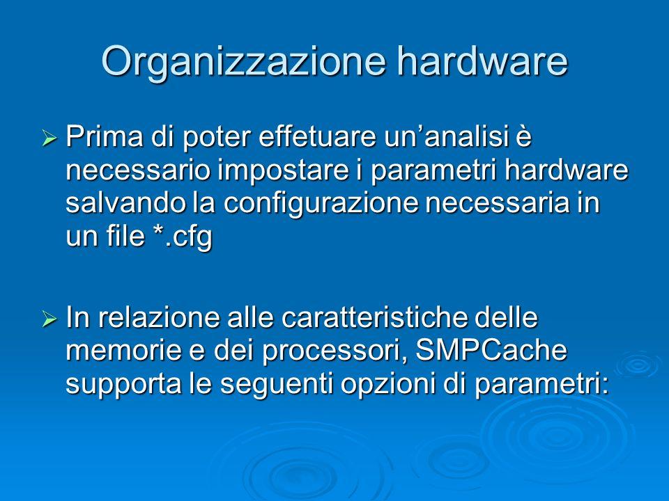Organizzazione hardware Prima di poter effetuare unanalisi è necessario impostare i parametri hardware salvando la configurazione necessaria in un file *.cfg Prima di poter effetuare unanalisi è necessario impostare i parametri hardware salvando la configurazione necessaria in un file *.cfg In relazione alle caratteristiche delle memorie e dei processori, SMPCache supporta le seguenti opzioni di parametri: In relazione alle caratteristiche delle memorie e dei processori, SMPCache supporta le seguenti opzioni di parametri: