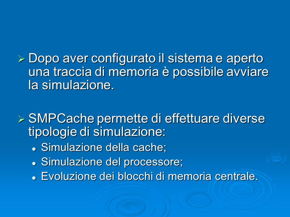 Dopo aver configurato il sistema e aperto una traccia di memoria è possibile avviare la simulazione.