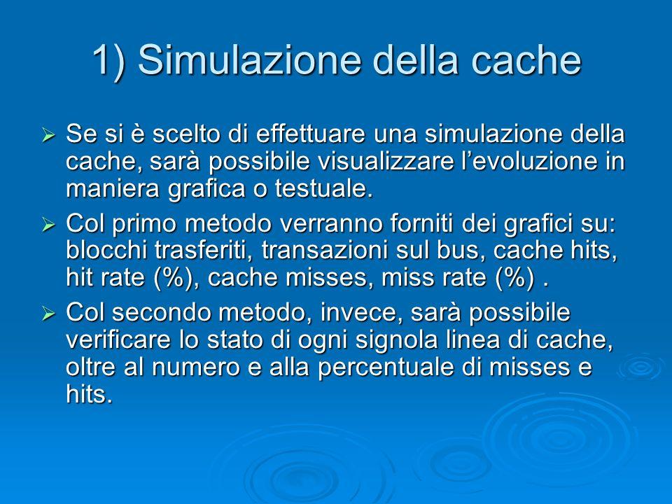 1) Simulazione della cache Se si è scelto di effettuare una simulazione della cache, sarà possibile visualizzare levoluzione in maniera grafica o testuale.