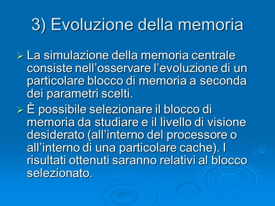 3) Evoluzione della memoria La simulazione della memoria centrale consiste nellosservare levoluzione di un particolare blocco di memoria a seconda dei parametri scelti.