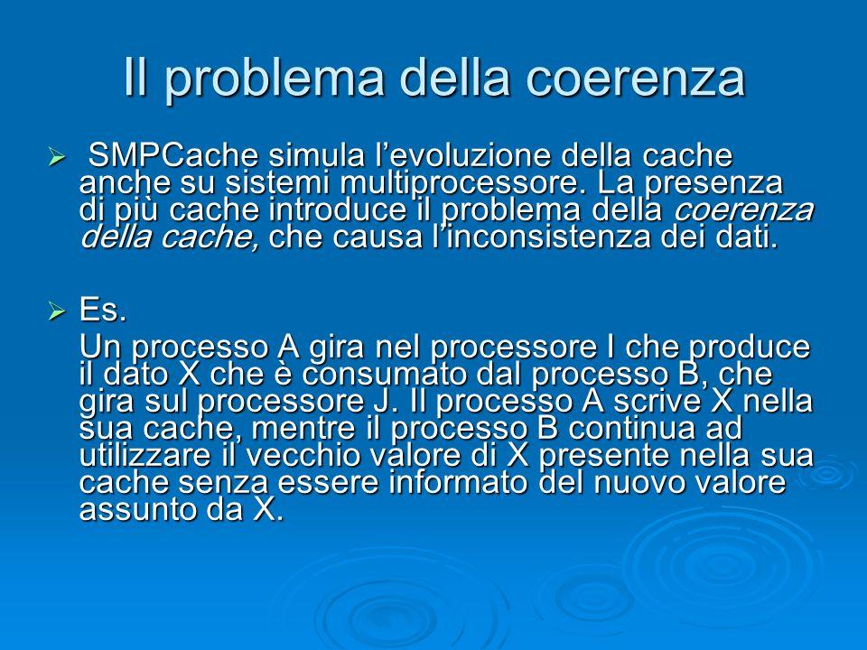 Il problema della coerenza SMPCache simula levoluzione della cache anche su sistemi multiprocessore.