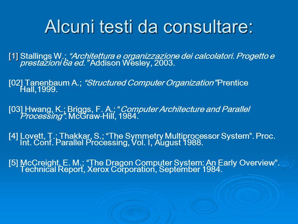 Alcuni testi da consultare: [1] [1] Stallings W.; Architettura e organizzazione dei calcolatori.