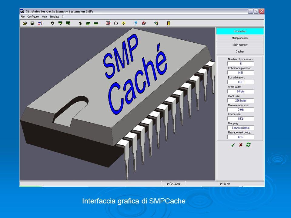 Protocolli di coerenza Per ovviare a tale problema SMPCache supporta tre principali protocolli di coerenza utilizzati nei più moderni sistemi di elaborazione che utilizzano una politica di scrittura write-back: Per ovviare a tale problema SMPCache supporta tre principali protocolli di coerenza utilizzati nei più moderni sistemi di elaborazione che utilizzano una politica di scrittura write-back: MSI MSI MESI MESI DRAGON DRAGON Lidea che sta alla base di questi protocolli è di associare ad ogni blocco di memoria uno stato che indica la disposizione del blocco stesso (invalid, valid or dirty) Lidea che sta alla base di questi protocolli è di associare ad ogni blocco di memoria uno stato che indica la disposizione del blocco stesso (invalid, valid or dirty) MSI e MESI sono dei protocolli basati sullinvalidazione, mentre DRAGON è basato sullaggiornamento MSI e MESI sono dei protocolli basati sullinvalidazione, mentre DRAGON è basato sullaggiornamento