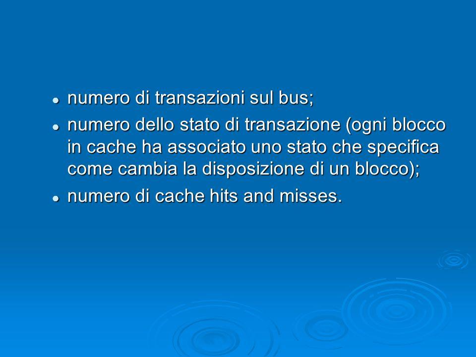 numero di transazioni sul bus; numero di transazioni sul bus; numero dello stato di transazione (ogni blocco in cache ha associato uno stato che specifica come cambia la disposizione di un blocco); numero dello stato di transazione (ogni blocco in cache ha associato uno stato che specifica come cambia la disposizione di un blocco); numero di cache hits and misses.