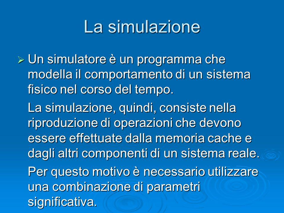 Tipi di simulazione Step by step (la simulazione si ferma dopo ogni accesso in memoria) Step by step (la simulazione si ferma dopo ogni accesso in memoria) With breakpoint (la simulazione si ferma dopo un numero specifico di accessi in memoria) With breakpoint (la simulazione si ferma dopo un numero specifico di accessi in memoria) Complete execution (la simulazione termina quando tutta la traccia di memoria viene esaminata) Complete execution (la simulazione termina quando tutta la traccia di memoria viene esaminata)