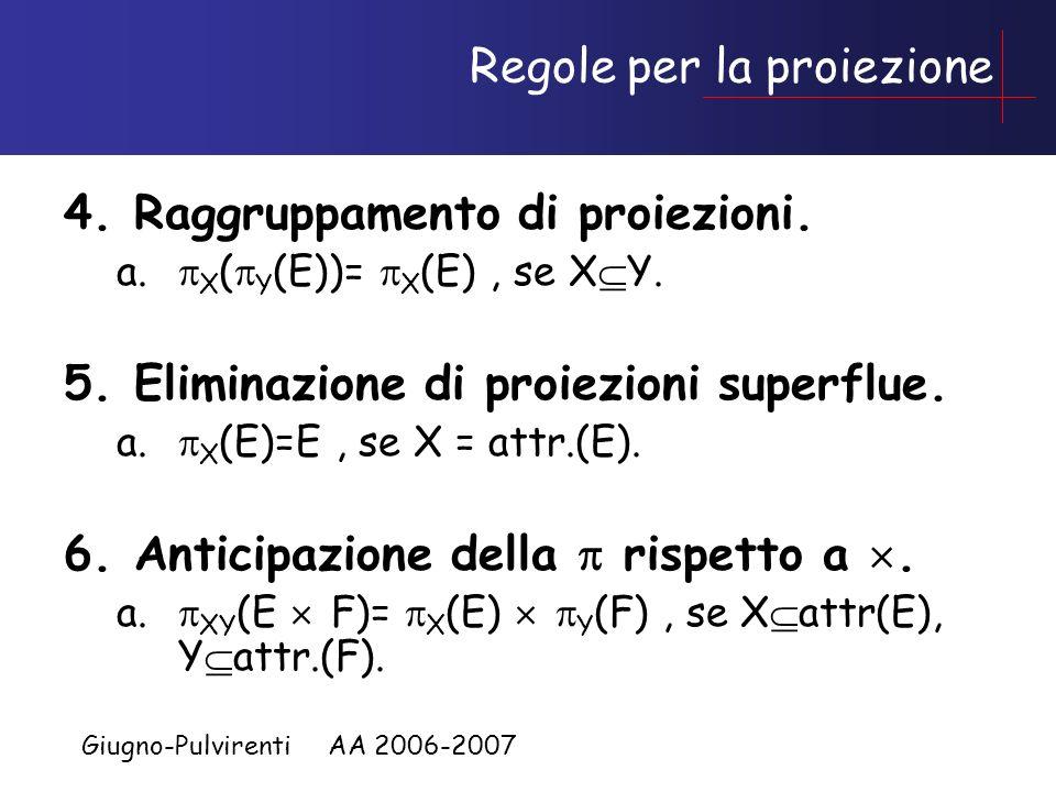 Giugno-Pulvirenti AA 2006-2007 Restrizione e Prodotto 3.Anticipazione di rispetto a. a. C(X) (E F)= C(X) (E) F, se X attr(E). b. C(X)&C(Y) (E F)= C(X)